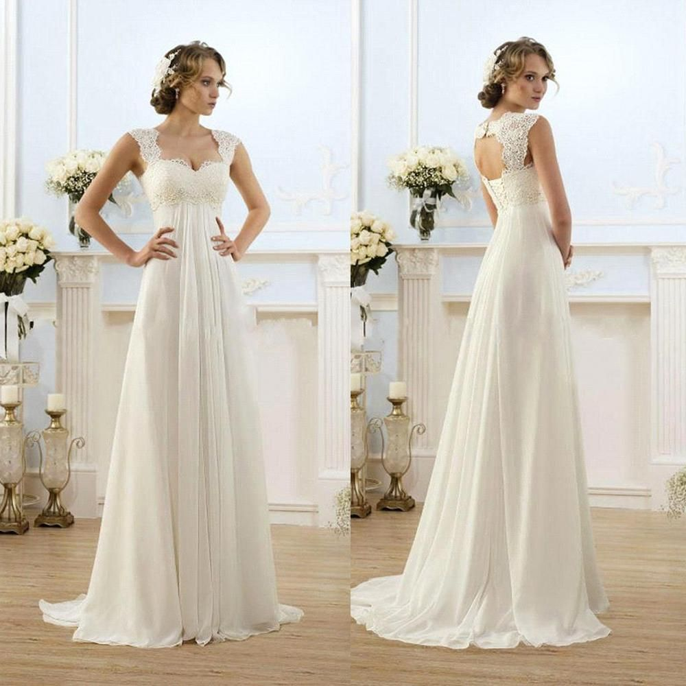 Maternity beach wedding dresses  Vintage Modest Wedding Gowns Capped Sleeves Empire Waist Plus Size