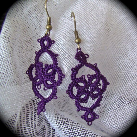 Tatted Lace Earrings  Victoriana  Purple and Brass by TotusMel, $13.00
