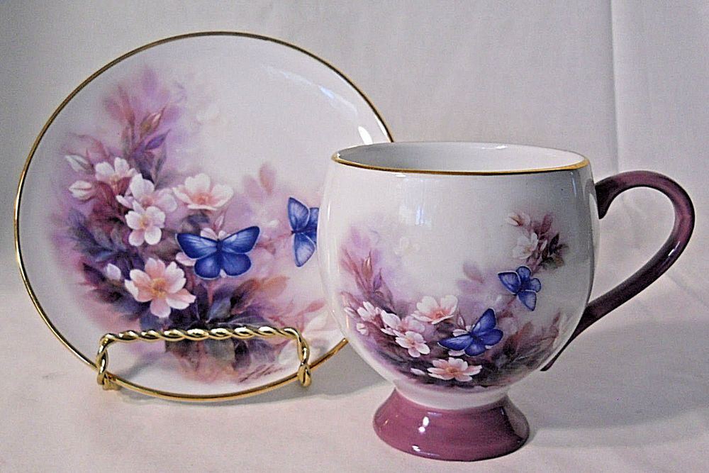 Lena Liel Blossoms And Butterflies Decorative Tea Cup Saucer Purple Teleflora Teleflora Tea Cups Tea Cup Saucer Tea