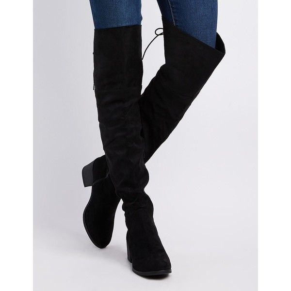 02e9c75b45f2 Bamboo Faux Suede Tie-Back Over-The-Knee Boots ( 41) ❤ liked on Polyvore  featuring shoes