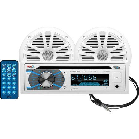 Boss Audio MCK508WB6 Combo Kit with MR508UABW Bluetooth Marine CD AM/FM Receiver, 6.5 inch MR6W Speakers and MRANT10 Marine Dipole Antenna, Multicolor