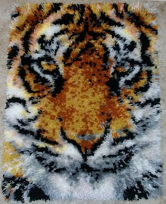 Latch Hook Rug Tiger Face Acrylic Handmade By FeltWicked
