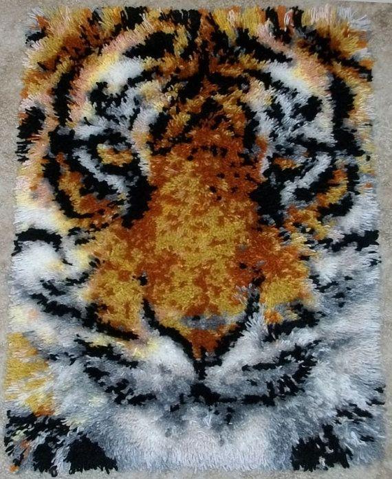 Latch Hook Rug Tiger Face Acrylic Handmade By FeltWicked
