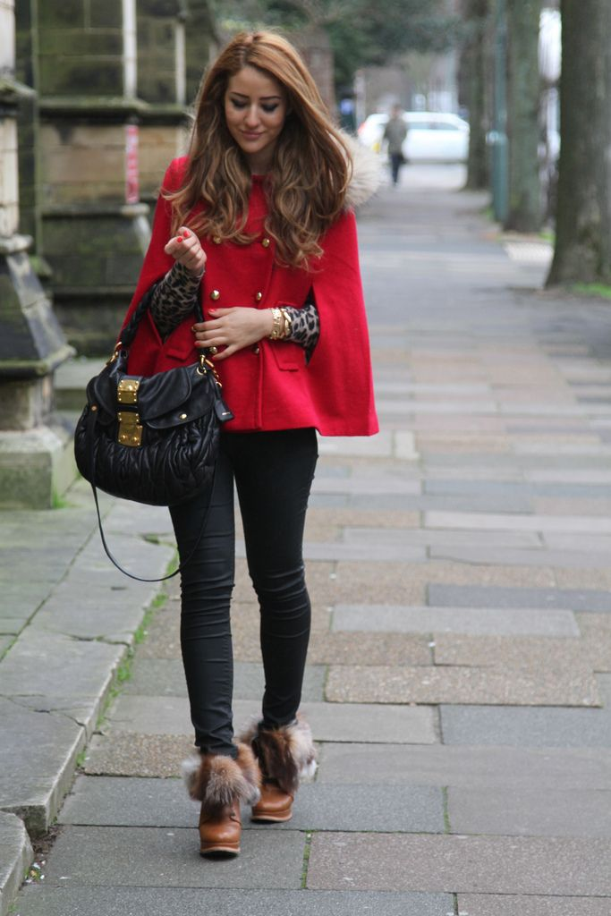 wool cape with denim jeans and ugg boots