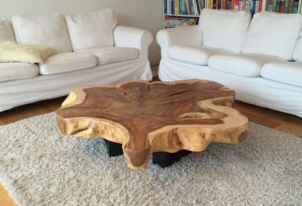 couchtisch mit tischplatte aus einem baumstamm baumst mme tisch und holztisch. Black Bedroom Furniture Sets. Home Design Ideas