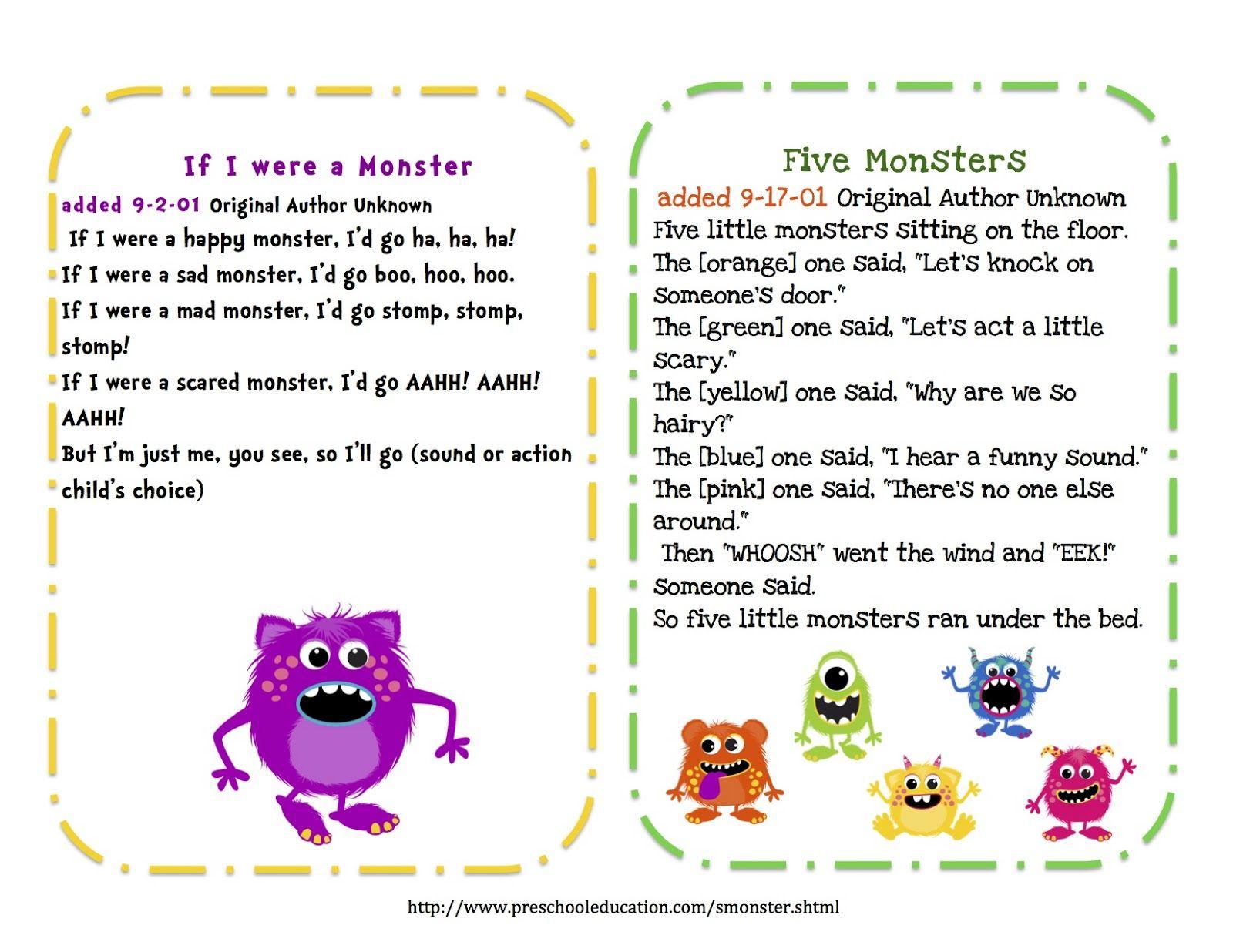 preschool printables free little monsters songs puppet sticks - Halloween Song For Preschool