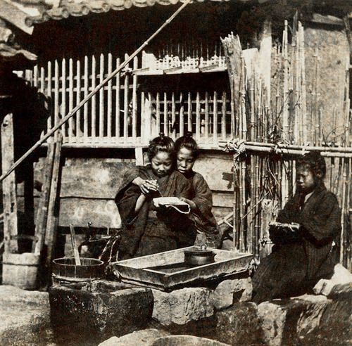 Brother Teaches Brother to Write, While Little Sister Looks On in Old Japan.  This very old ca 1862-64 semi-candid photo is taken from a stereoview.  Text and image via Okinawa Soba on Flickr