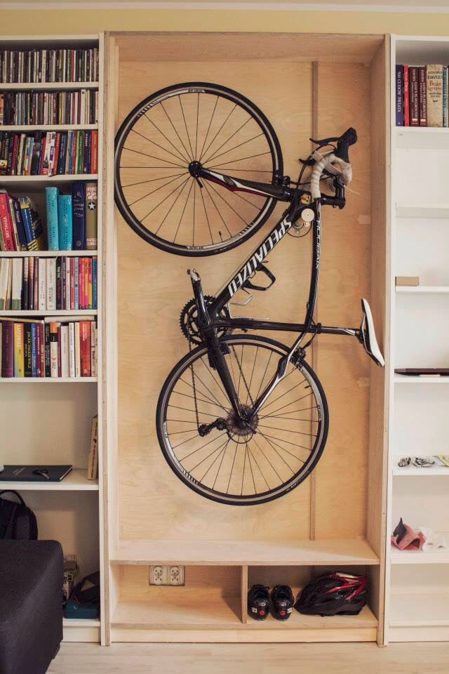 Birch Plywood Bike Hanger Inspired By The Billy Bookcase By