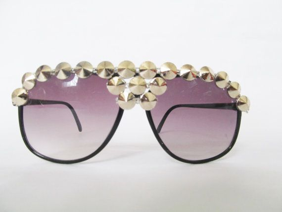 b23bfd0534 Embellished Sunglasses Black Aviators with Silver Studs by AlaiPre ...
