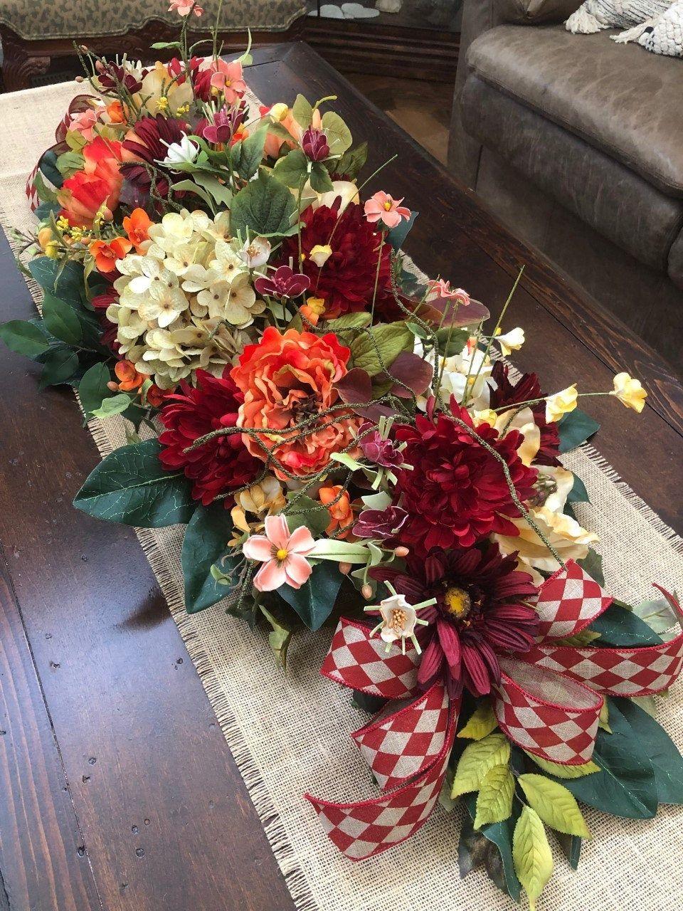 Summer garland, Red orange cream garland, Lush Silk Floral