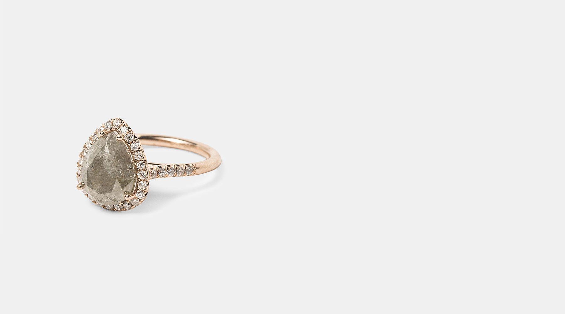 Raw Grey Diamond Engagement Ring