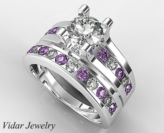 Diamond Wedding Ring Set Unique Wedding Ring Set Purple Amethyst