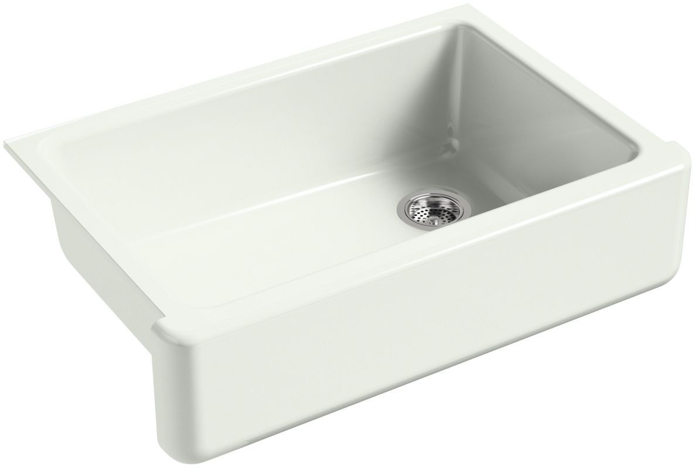 """Kohler K-5827 Whitehaven 32-11/16"""" Single Basin Under-Mount Cast Iron Kitchen Si Sea Salt Fixture Kitchen Sink Cast Iron"""