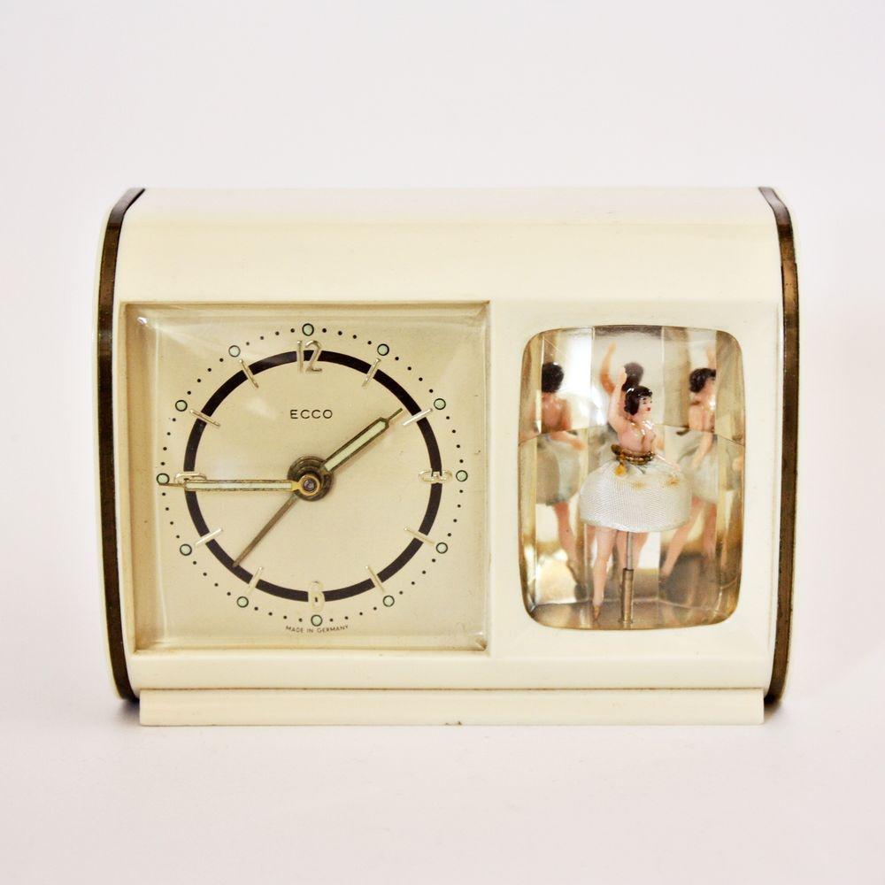 Vintage Musical Alarm Clock Reuge Swiss Ballerina Music Box Watch Video Musica