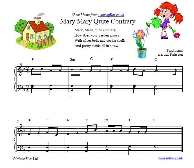 Mary Quite Contrary Nursery Rhyme Piano Sheet Music