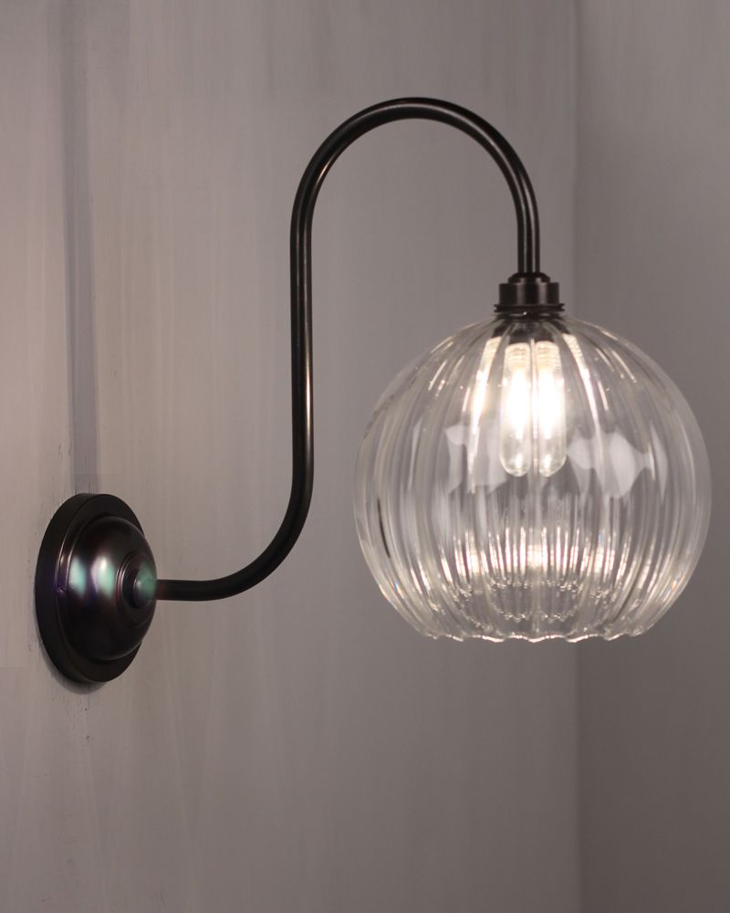 Hereford ribbed glass globe swan neck bathroom light westcott attractive traditional or modern designer bathroom lighting traditional bathroom wall lights for period homes victorian edwardian and georgian arubaitofo Images