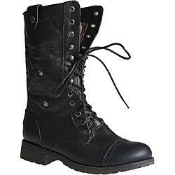 Sweet Beauty Women's 'Terra-06' Black Combat Boots by Sweet Beauty ...