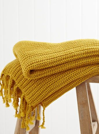 Mustard Vintage Rib Knitted Throw