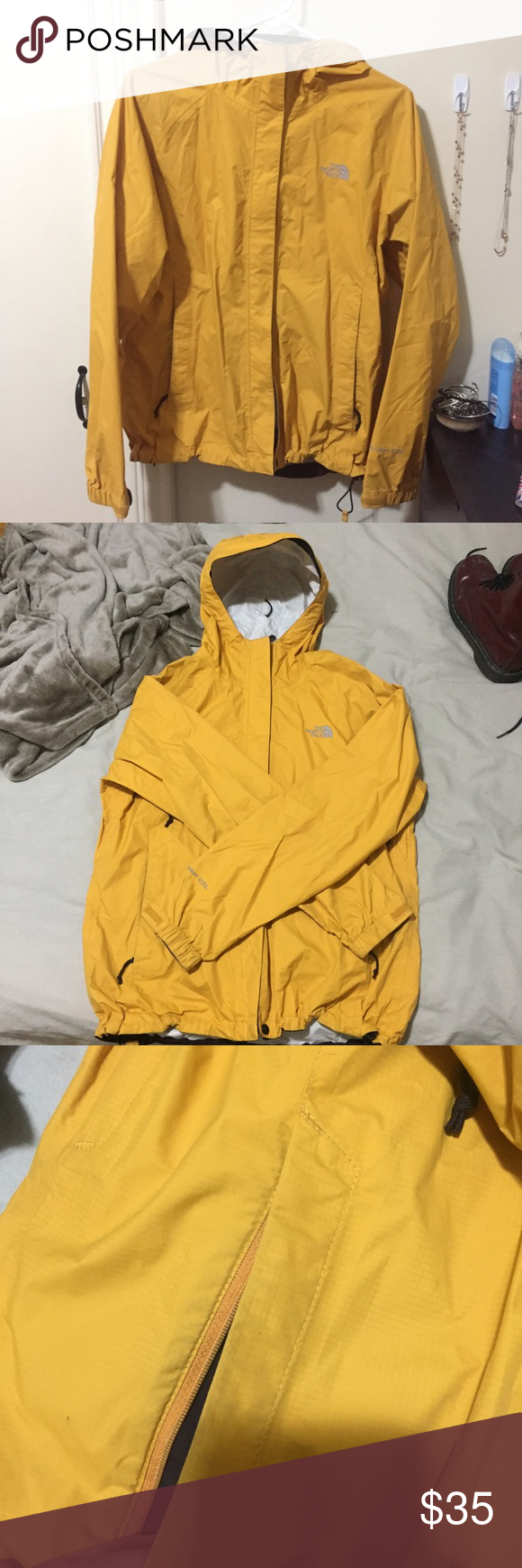 The North Face yellow rain jacket I think yellow rain jackets are so cute and classic. I'm normally a XS/S but I wanted it big at the time! The North Face Jackets & Coats