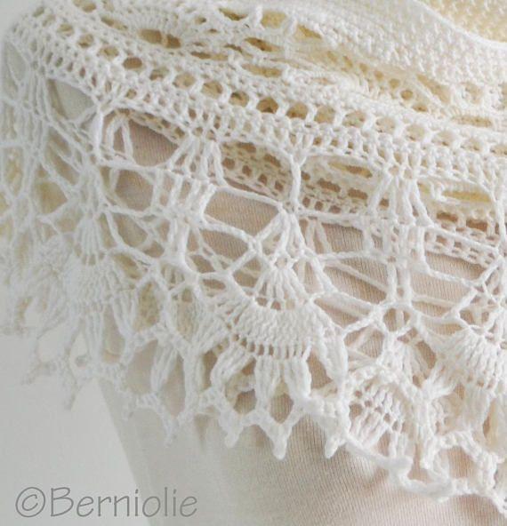 Crochet chal de encaje encaje bufanda lana merino blanca | Ganchillo ...