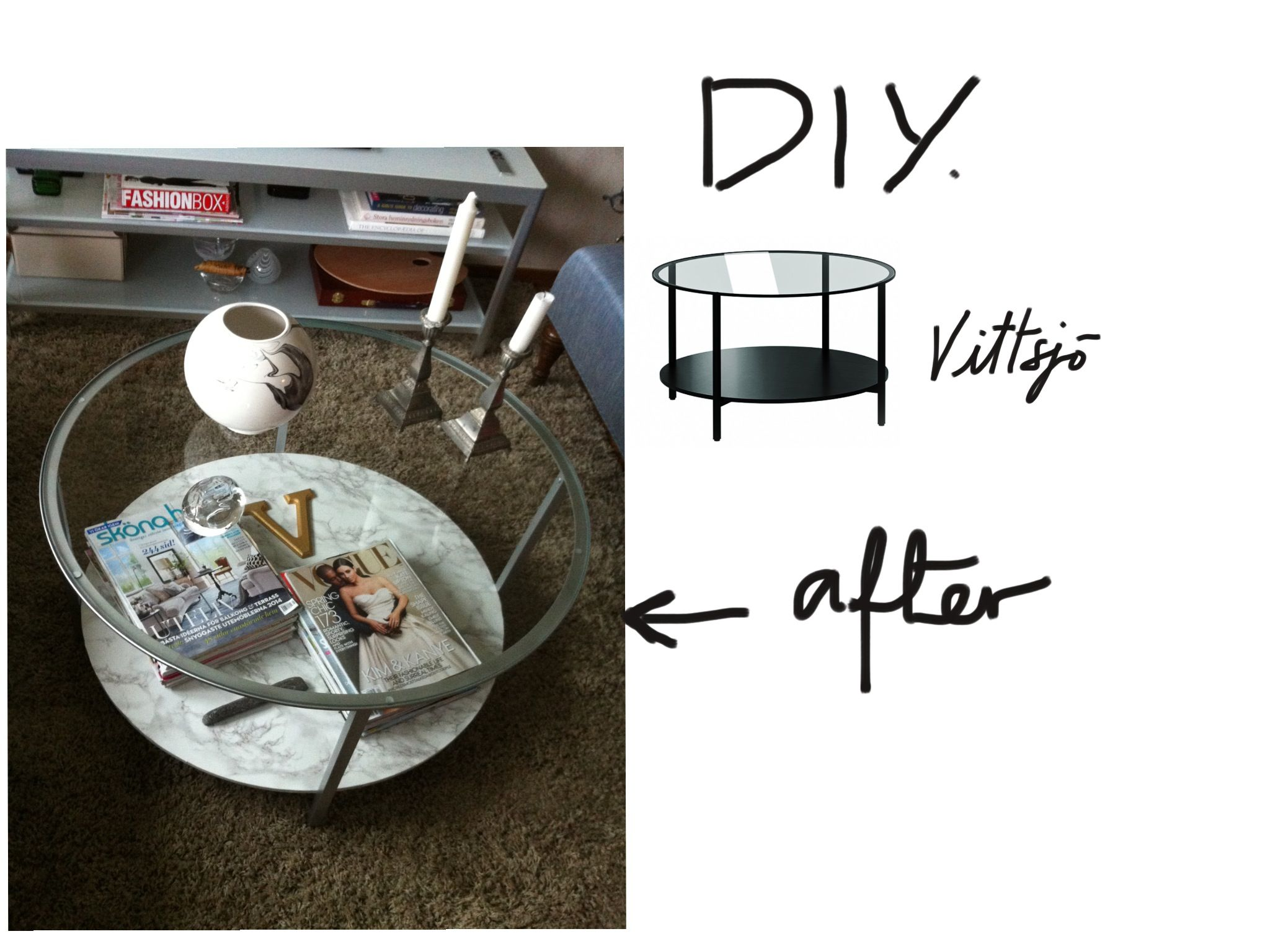 Before and after Vittsjö coffetable . DIY - silver spray paint + ...