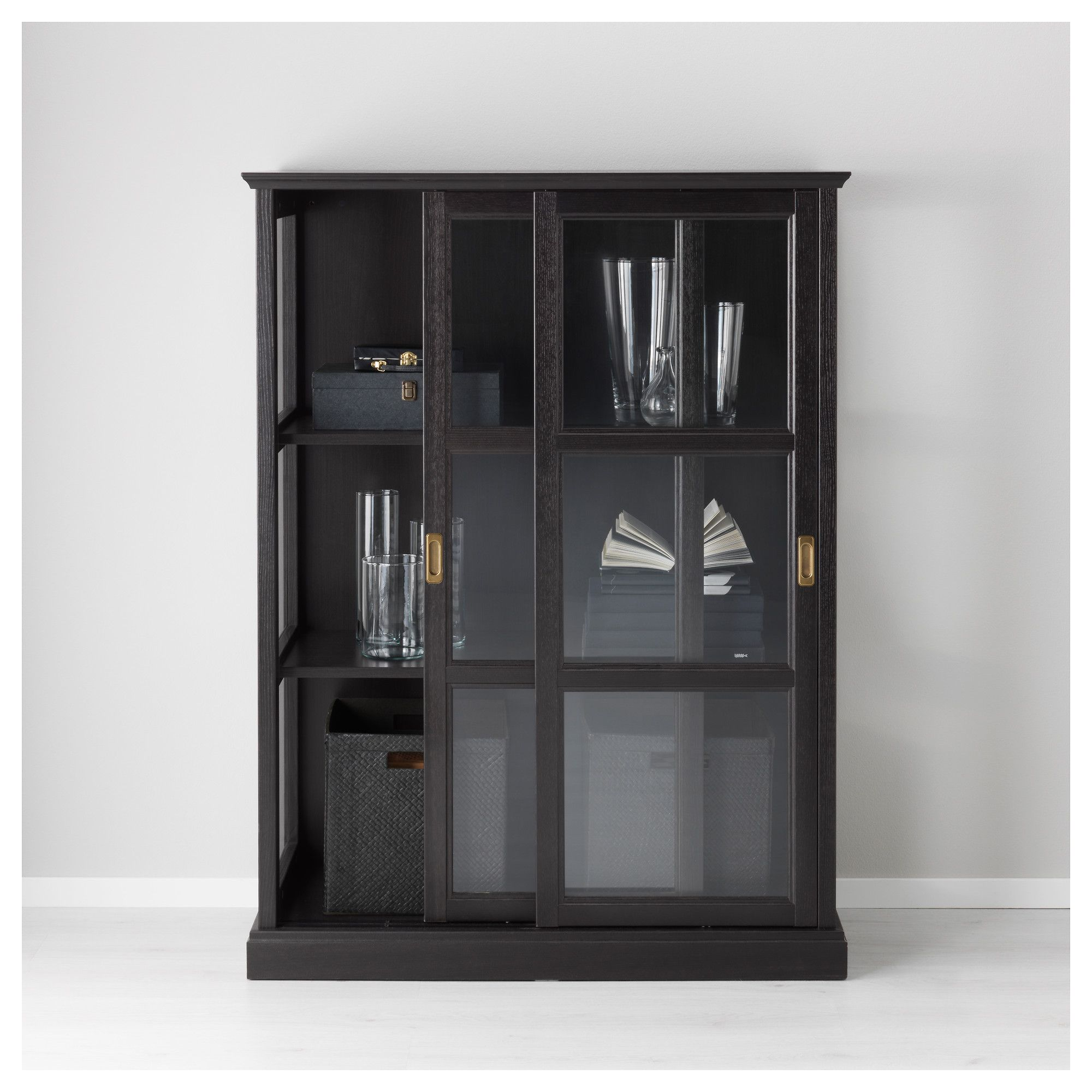 Malsj Glass Door Cabinet Black Stained 103×141 Cm Glass Doors  # Meuble Tv But Noir
