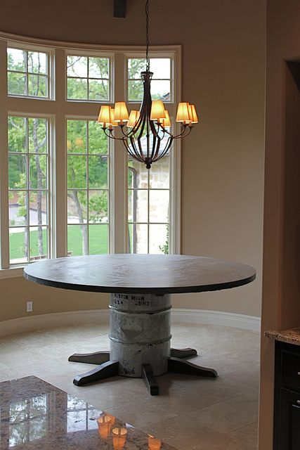 Great DIY Steel Drum Table. The Site Only Has Minimal Directions, But The  Idea