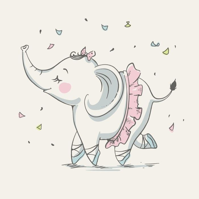 Cute elephant ballerina dancing cartoon hand drawn vector illustration. Can be used for baby t-shirt print, fashion print design, kids wear, baby shower celebration greeting and invitation card. Wall Mural • Pixers® - We live to change