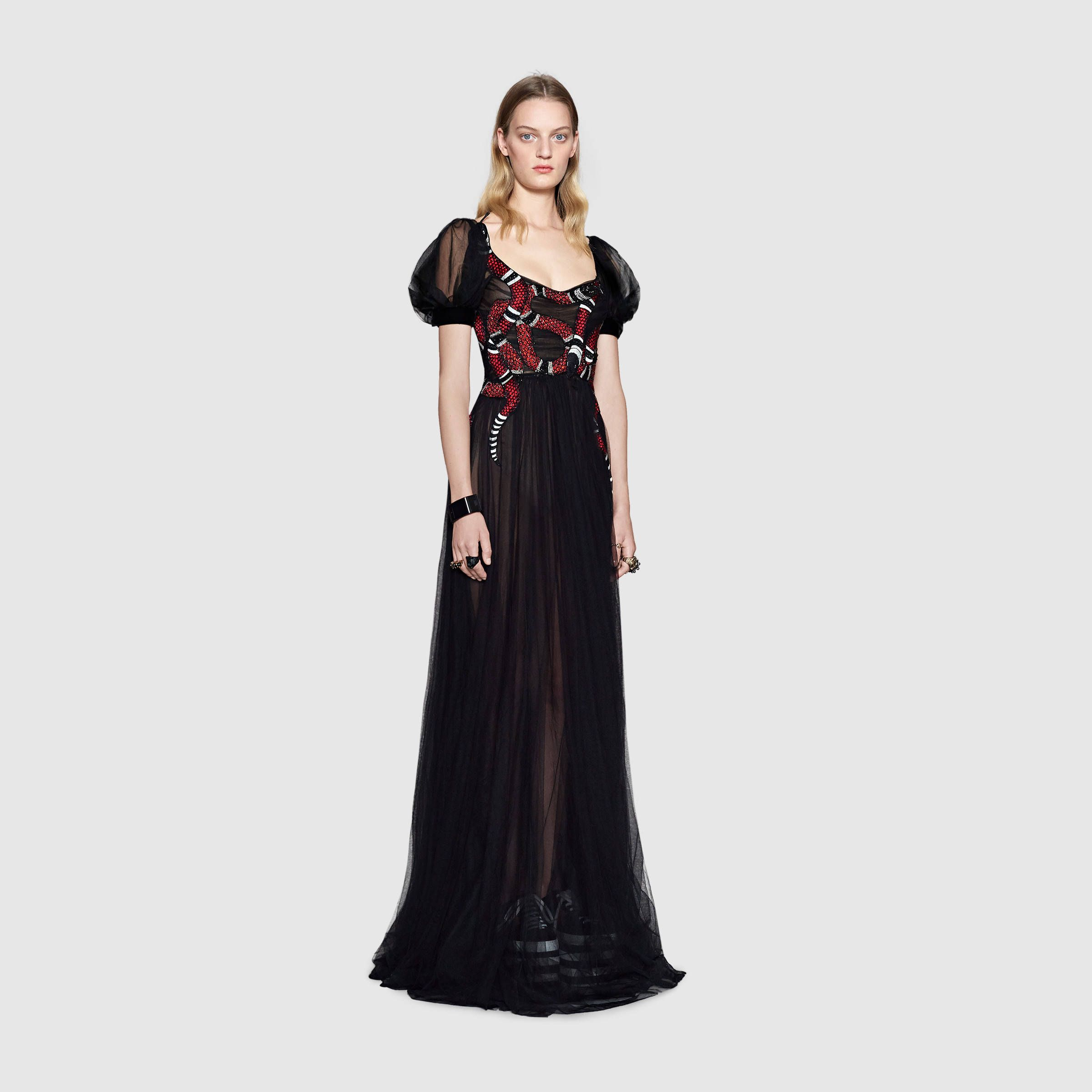 9c924b963bc Gucci Snake embroidered tulle gown Detail 2