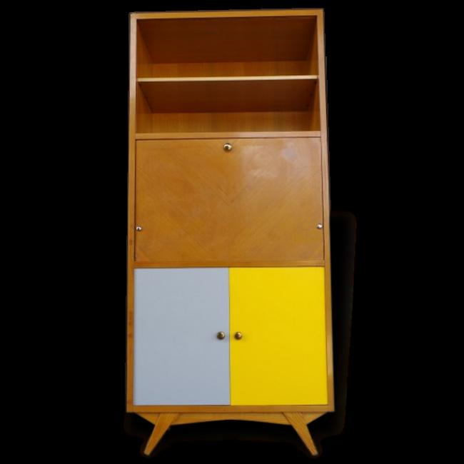 Secrétaire Vintage Donatien vendu par RVINTAGE à Voulx (77 - Seine-et-Marne). État : Bon état, Materiau : Bois et teck, Style : Vintage,