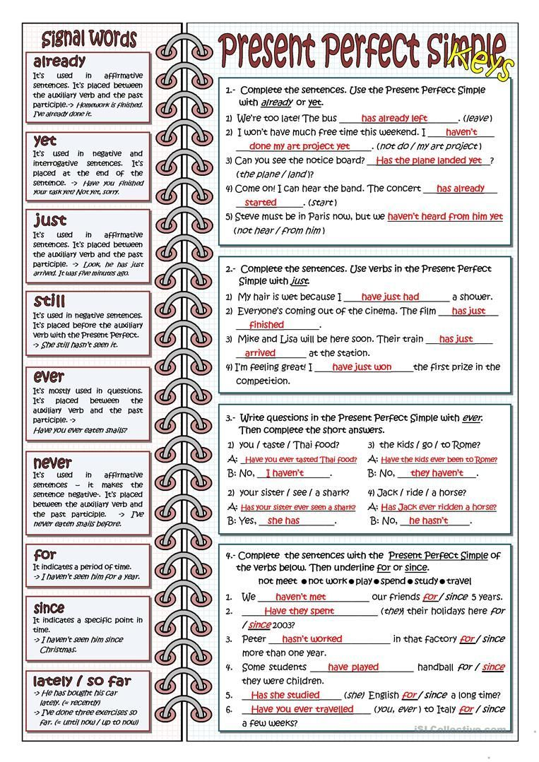 Signal Words For Present Perfect Worksheet Free Esl Printable Worksheets Made En 2020 Gramatica Inglesa Como Aprender Ingles Rapido Ensenanza De Ingles