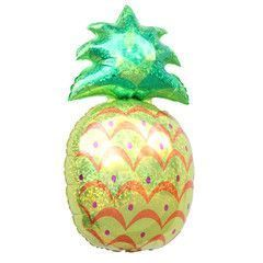 Giant Pineapple Balloon ideal for a tropical or fruit birthday party.  It is a must have in your pineapple party or your flamingo party!