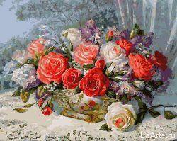 Картина по номерам GX7829 Сирень и розы. 40х50 (см ...