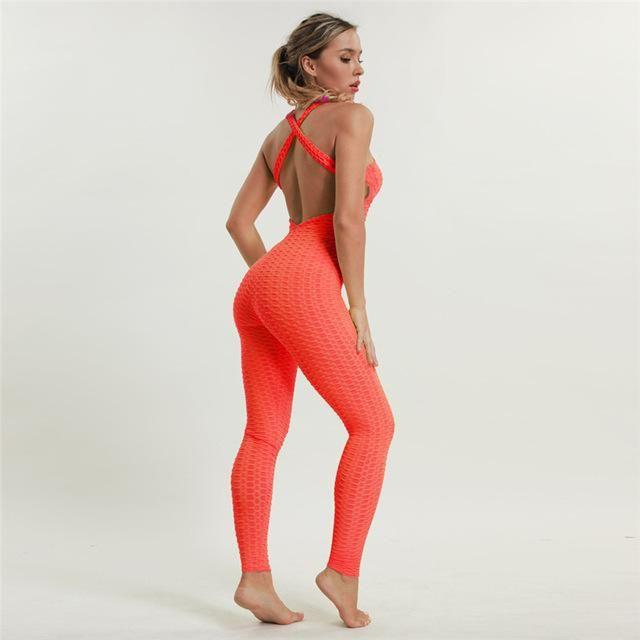 166ba57e8d2 Slim fit short sleeve yoga activewear jumpsuit