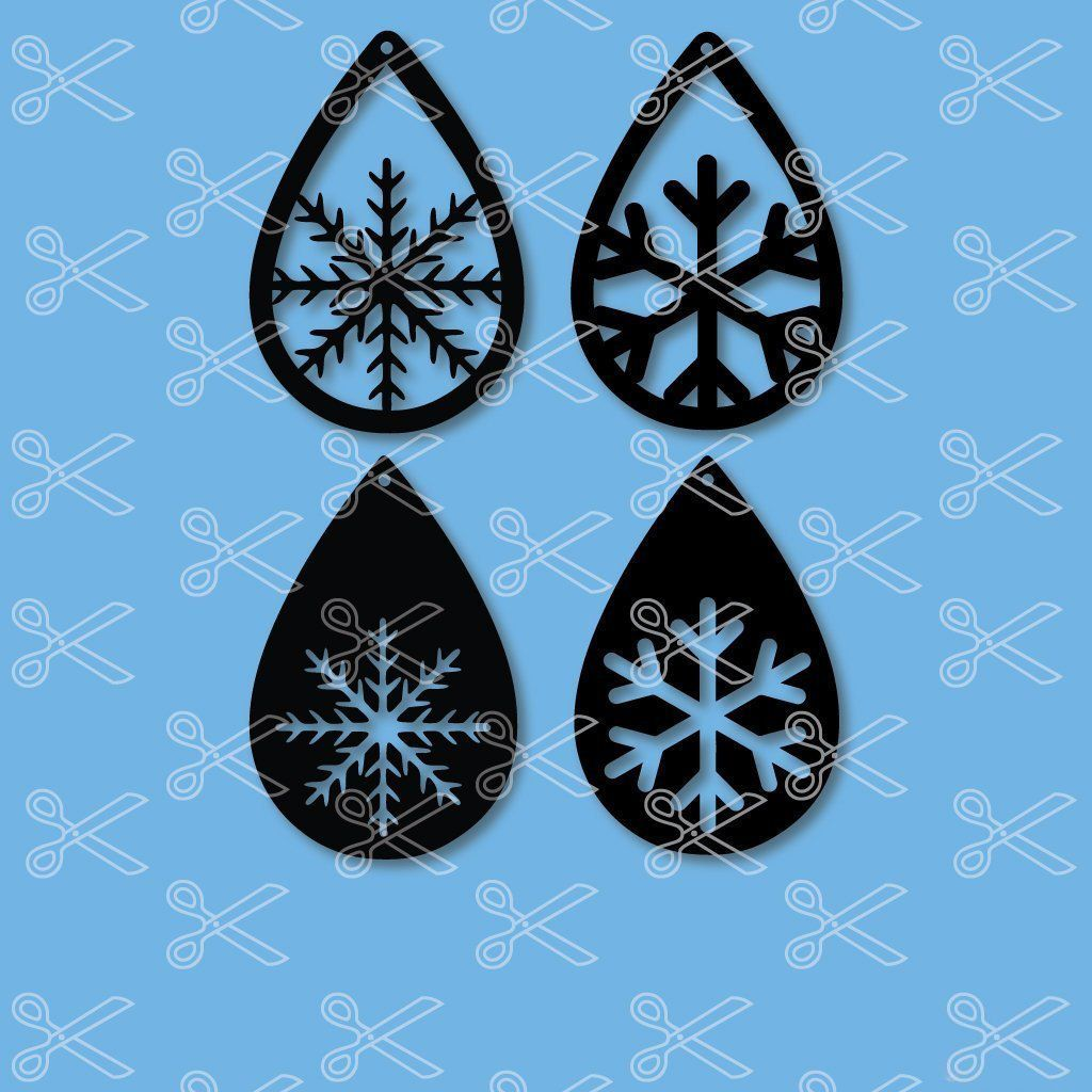 Snowflakes TearDrop Earring SVG DXF (With images) Diy