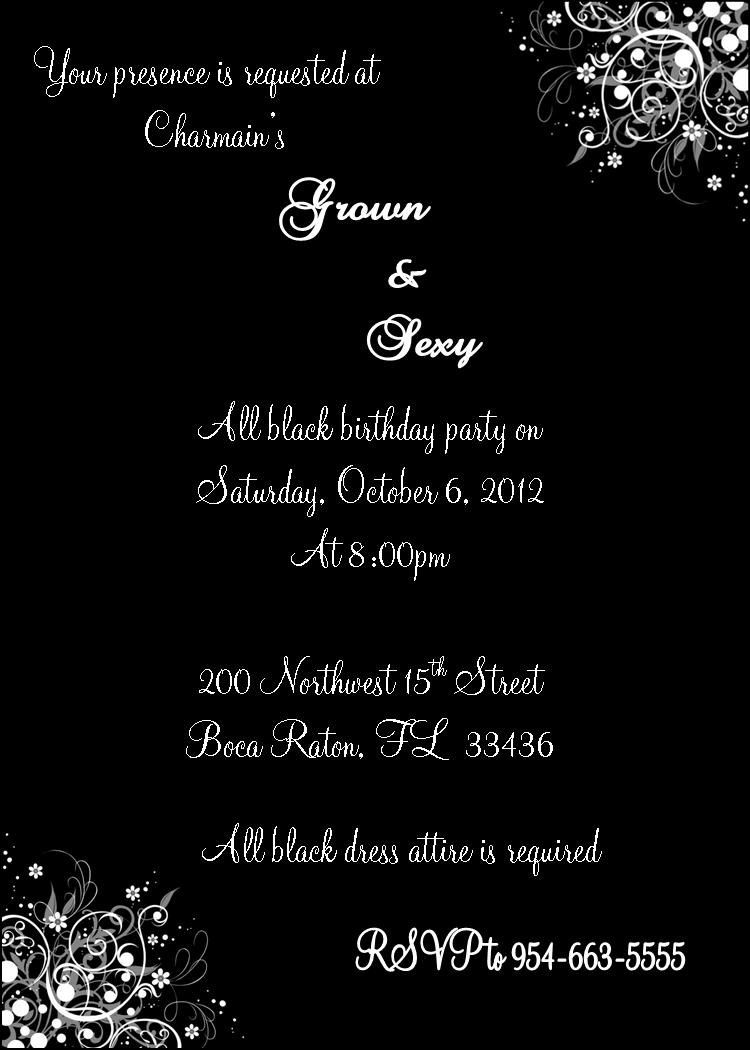 Grown And Sexy All Black Invitation By Js Event Creations Llc On