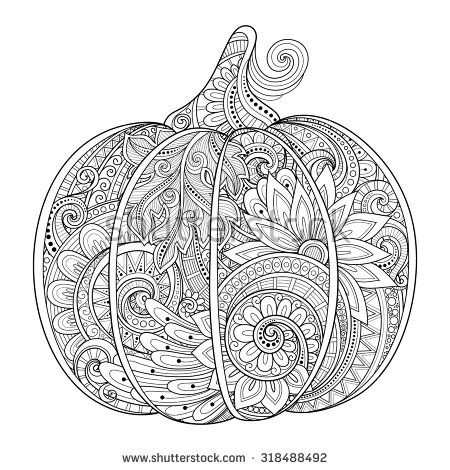 Vector Monochrome Decorative Punkim with Beautiful Pattern - patterns for halloween decorations