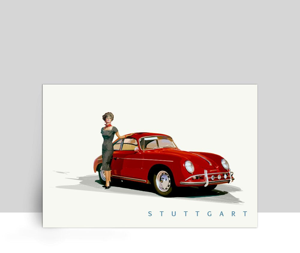 The Air Factor-ALUMINUM POSTERS Ruby Red – Classic Car Porsche 356 Christo Girls Classic Car. Aluminum Poster