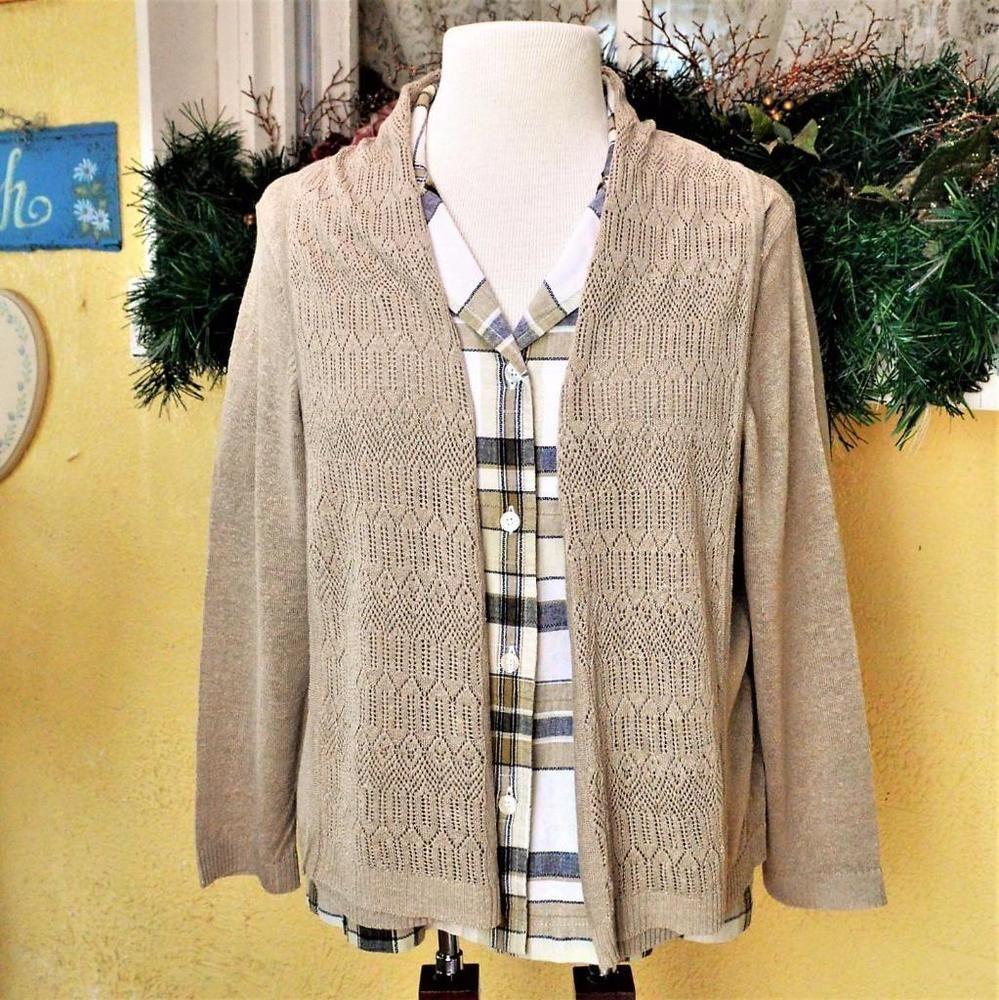 Bon Appleseeds PL Petite Open Cardigan Sweater Cabin Creek Shirt Khaki Multi  Buttons