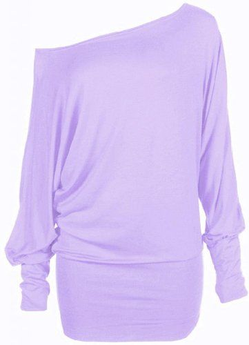 a8378fc8cfbfe Hot Hanger Womens Long Sleeve Off Shoulder Plain Batwing Top   Color -  Lilac   Size - 8-10 SM
