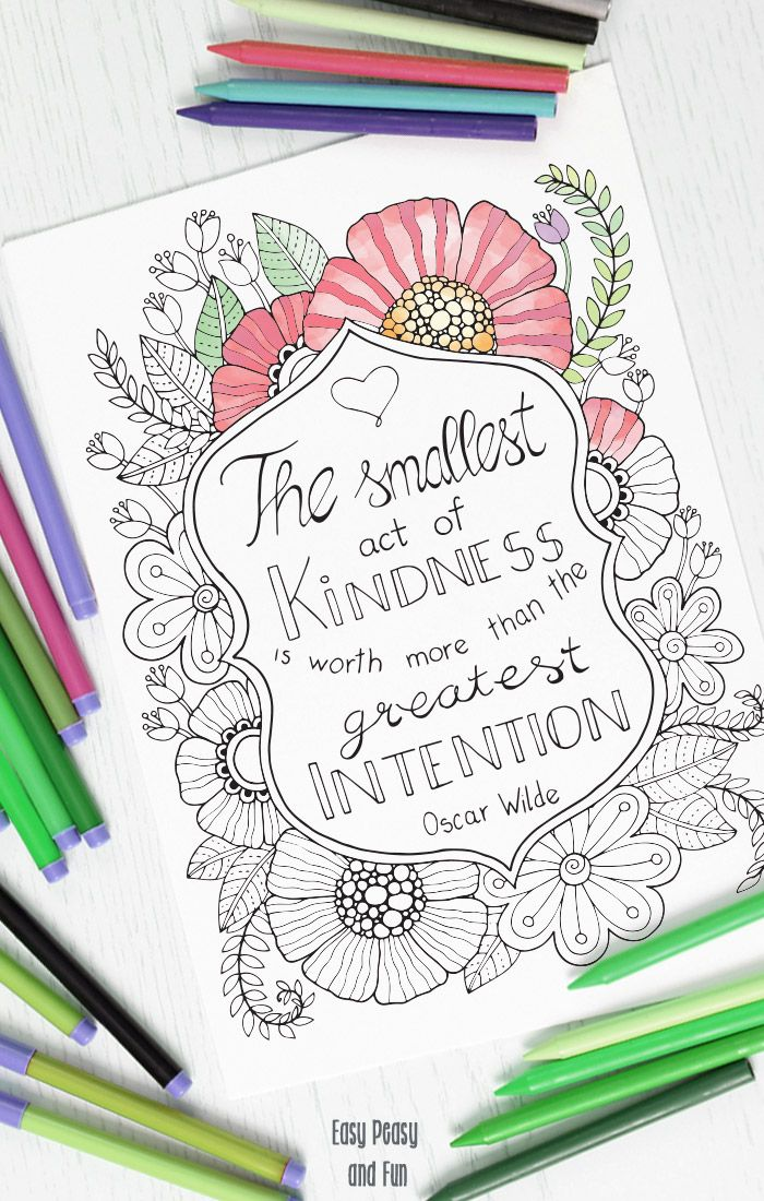 Kindness Quote Coloring Page Kindness quotes, Craft activities and - copy free coloring pages showing kindness