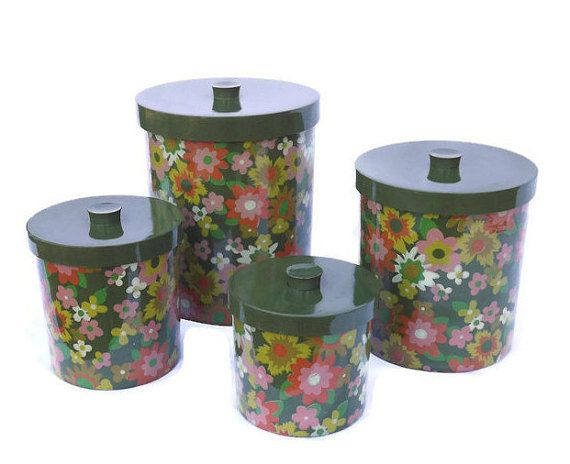 Floral Canister Set, Kitchen Canisters, Green Canisters, Round Nesting  Canisters, Melamine Canisters