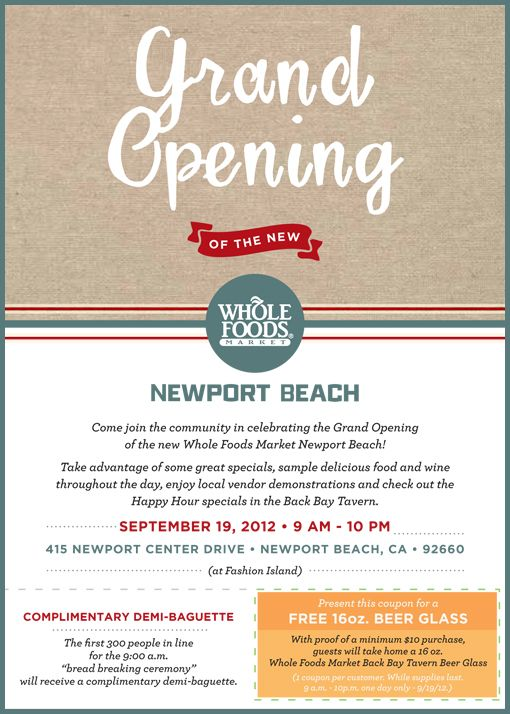 Whole Foods Market Newport Beach Grand Opening Oc Events
