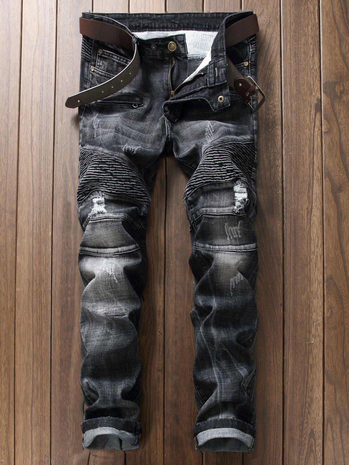 Plus Size Ripped Straight Leg Biker Jeans Ripped Jeans Casual Black Jeans Men Mens Jeans [ 1596 x 1200 Pixel ]