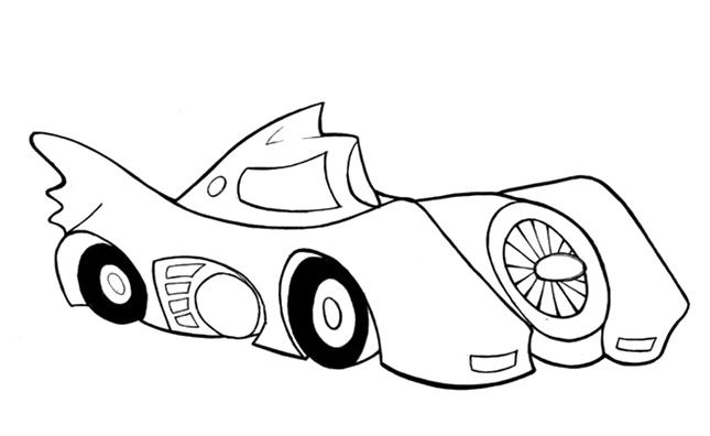 Batmobile Batman Coloring Pages - Batman cartoon coloring ...