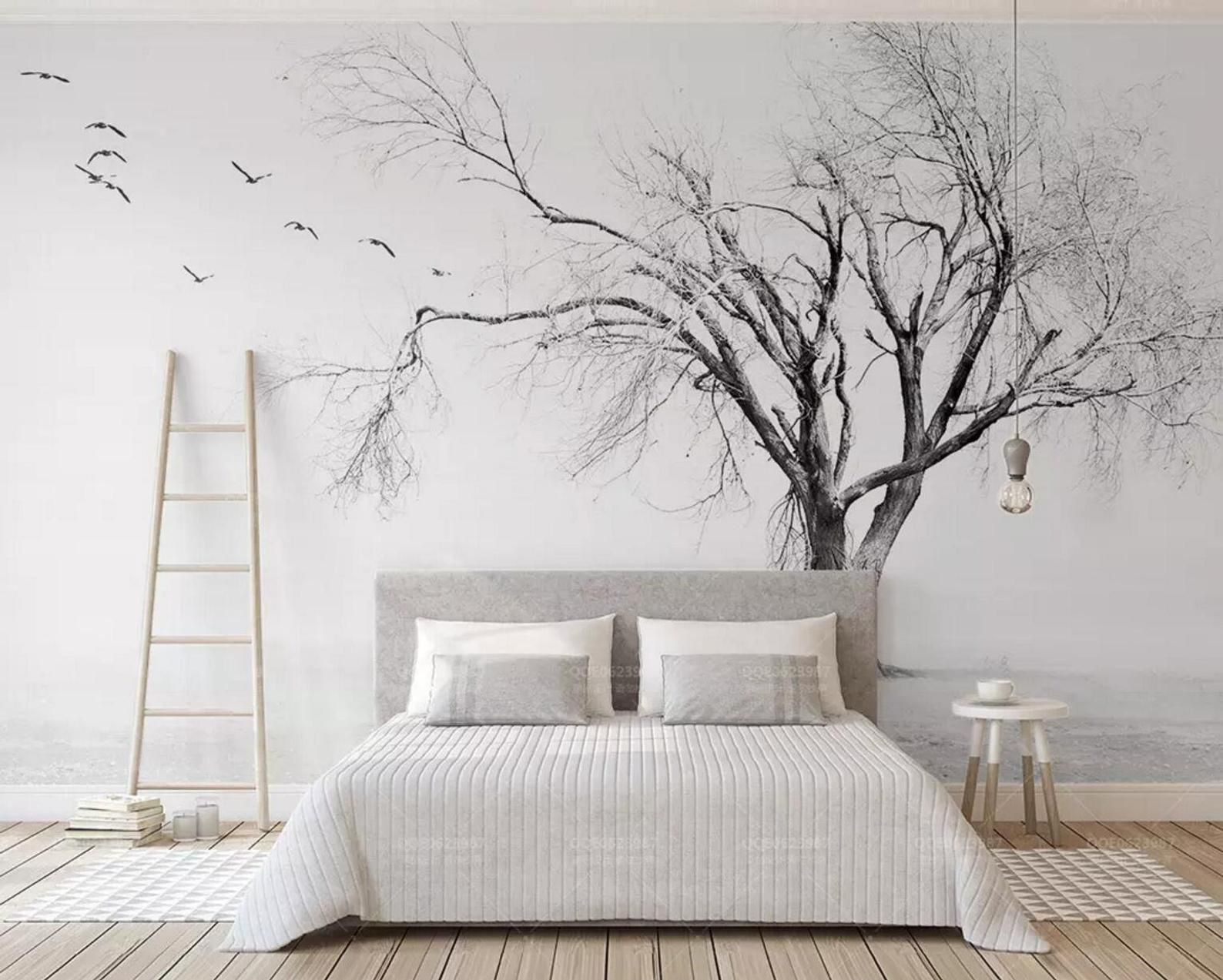 3d Alone Birds Dead Trees Wallpaper Removable Self Adhesive Etsy Tree Wallpaper Wall Wallpaper 3d Wallpaper Black And White