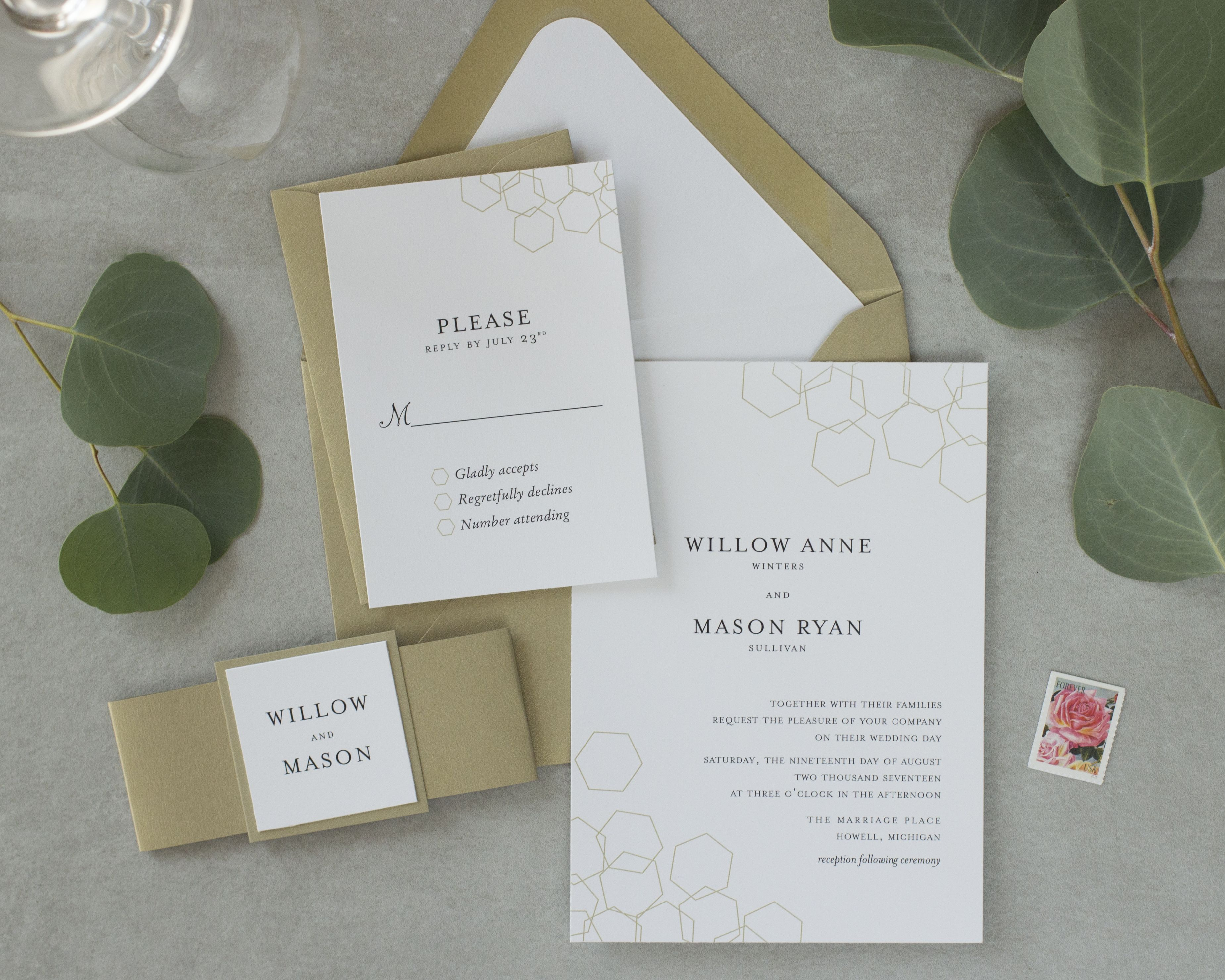 champagne blush wedding invitations%0A Nontraditional wedding invitation with a honeycomb design  A beautiful   contemporary invitation with