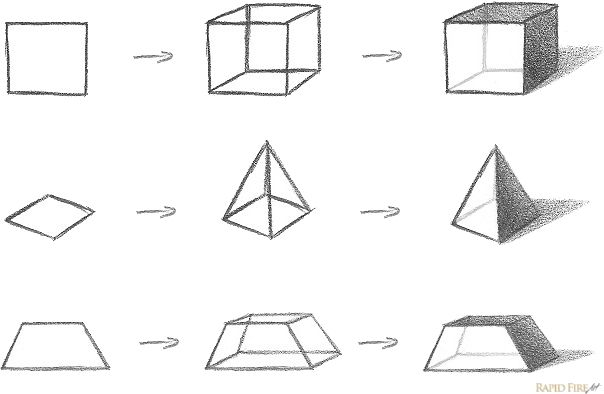 How To Draw Form 3d Objects With Shadows Triangle Drawing Geometric Drawing Object Drawing