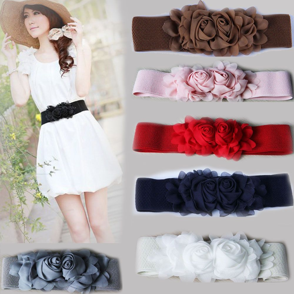 Women Girls Chiffon Double Rose Flower Elastic Stretch Waist Belt Waistbelt Band