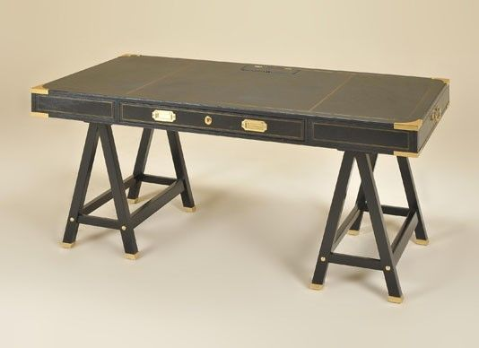 Maitland-Smith Black Leather Wrapped Writing Desk